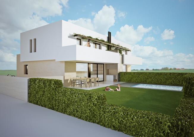 Imagen 3d promocional de dos casas pareadas en figueres - Inmobiliarias en figueres ...