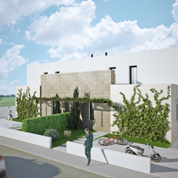 3D promotional image of two semi-detached houses in Figueres