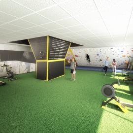 Infografía 3D proyecto nuevo gym Topclim Figueres