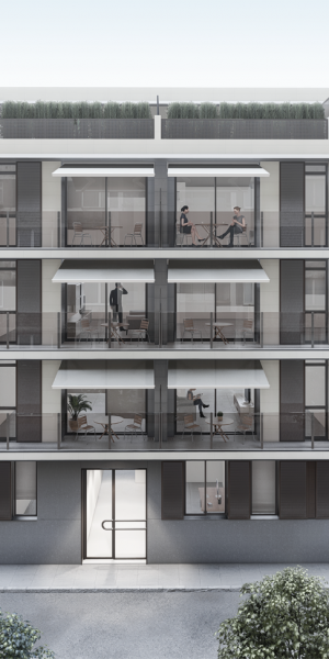 Infografia 3D d'un edifici plurifamiliar situat a Calonge