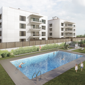 3D rendering of two single-family buildings in Vilablareix (Girona)