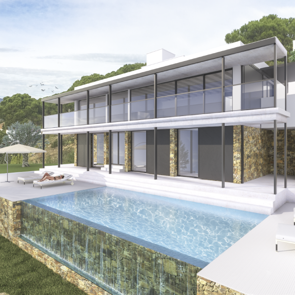 Promotional 3D infographics of a villa located in the Port de la Selva