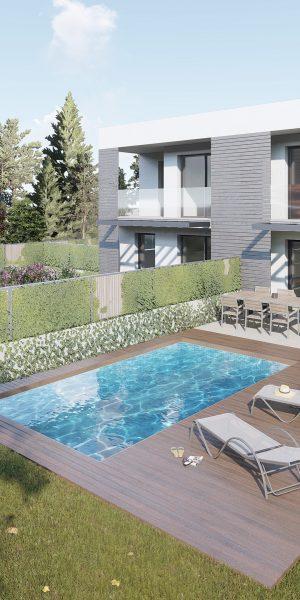 Imatge 3D de dos habitatges aparellats