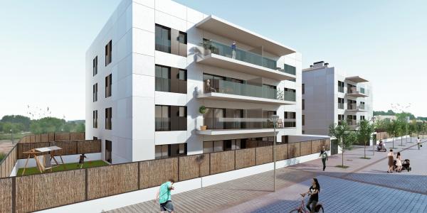 Representación 3D de dos edificios unifamiliares en Vilablareix (Girona)