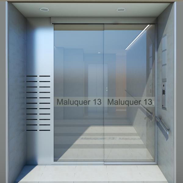 Representación 3D de una reforma en una entrada de edificio