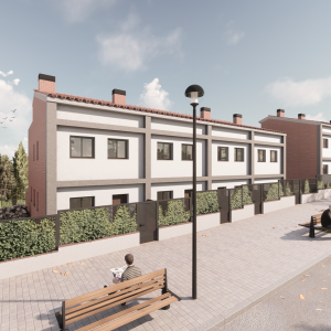 Imatgen 3D promocional de viviendas unifamiliares en Canet de Mar