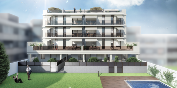 Infografia 3D de un edificio plurifamiliar situado en Calonge
