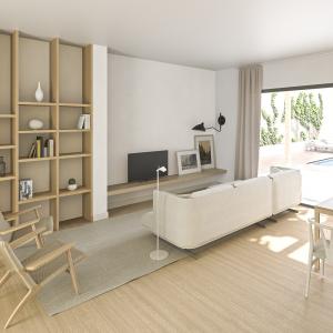 Infografías 3D de una cocina-comedor en una casa situada en Mallorca